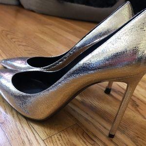 Saint Laurent Pointed Gold High Heel